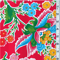 *2 5/8 YD PC--Red Floral Oilcloth