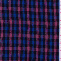 *4 1/4 YD PC--Black/Fuschia Plaid Suiting