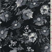 *2 1/2 YD PC--Black/Grey Floral Challis