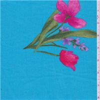 *3 1/2 YD PC--Aqua Blue Floral Linen Suiting