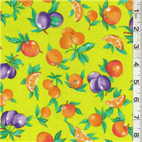 *2 3/8 YD PC--Bright Green Fruit Print Cotton