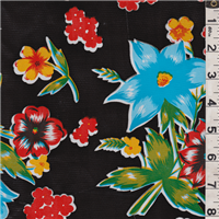 *2 YD PC--Black Floral Oilcloth