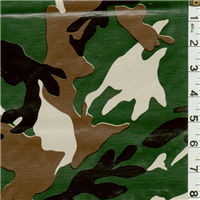 *1 5/8 YD PC--Green Camo Oilcloth