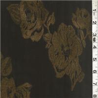 *2 3/8 YD PC--Iridescent Black Embroidered Antique Satin
