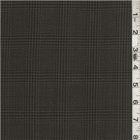 *1 3/4 YD PC--Black/Taupe Plaid Wool Suiting