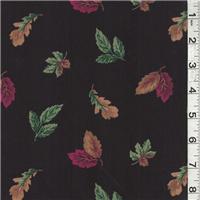 *3 YD PC--Black Multi Leaf Print Cotton