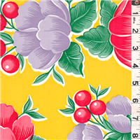*5/8 YD PC--Yellow Floral Oilcloth
