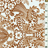 *1 1/2 YD PC--Brown Floral Oilcloth
