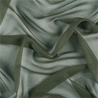 Olive Green Wide Silk Chiffon
