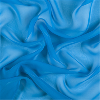 Bright Blue Wide Silk Chiffon