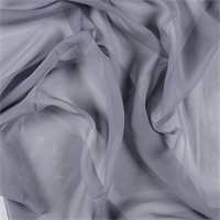 Gray Wide Silk Chiffon