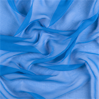 Bright Blue Crinkled Silk Chiffon