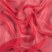 Bright Red Crinkled Silk Chiffon