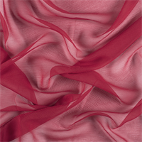 Dark Red Crinkled Silk Chiffon