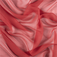 Red Crinkled Silk Chiffon