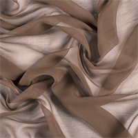 Olive Brown Crinkled Silk Chiffon