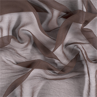 Dark Brown Crinkled Silk Chiffon