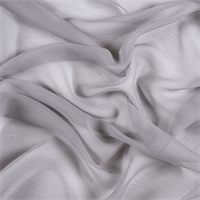 Silver Gray Crinkled Silk Chiffon