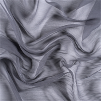 Gray Crinkled Silk Chiffon