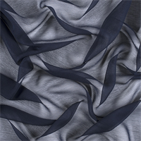 Navy Blue Crinkled Silk Chiffon