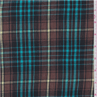 *1 5/8 YD PC--Brown/Turquoise Plaid Gauze