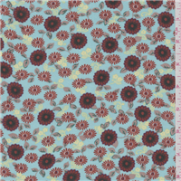 *1 YD PC--Light Blue Floral Challis