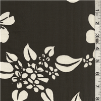 *7/8 YD PC--Dark Brown Floral Stretch Poplin
