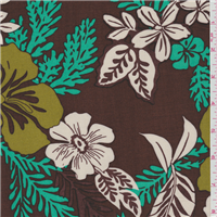 *4 YD PC--Brown Floral Challis