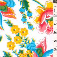 *4 YD PC--White Floral Oilcloth