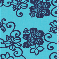 *2 YD PC--Aqua Blue Floral Shirting