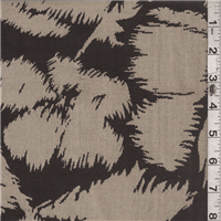 *1 1/2 YD PC--Dark Brown/Tan Floral Canvas
