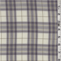 *4 1/8 YD PC--Ivory/Plum Plaid Challis