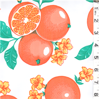 *1 1/4 YD PC--White Fruit Oilcloth