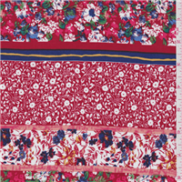 *1 3/8 YD PC--Red Floral Stripe Challis