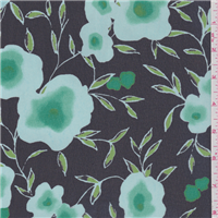 *3 1/2 YD PC--Black/Green Floral Chiffon