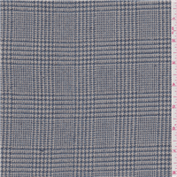 *1 3/8 YD PC--Grey/Blue Plaid Wool Suiting