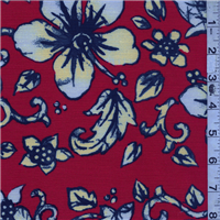 *3 YD PC--Red Floral Faille