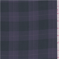 *2 YD PC--Purple/Black Plaid Shirting