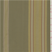*1 YD PC--Olive Green Stripe Silk Taffeta
