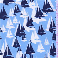 *1 1/8 YD PC--Sky Blue Sailboat Fine Line Twill